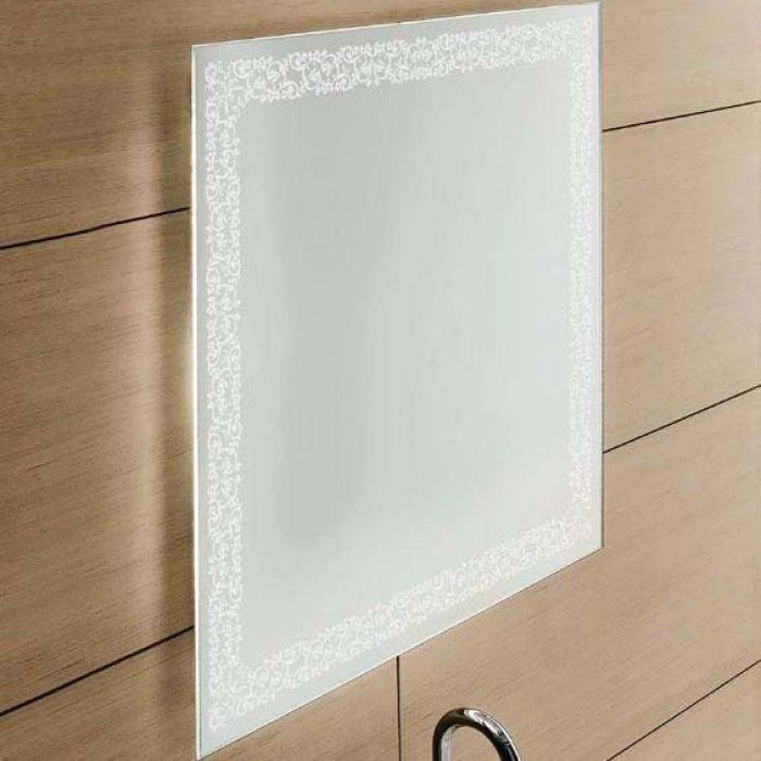 Зеркало для ванной комнаты квадратное 70 см на 70 см см GSI MSPEC14 (с декором и внутренней подсветкой)