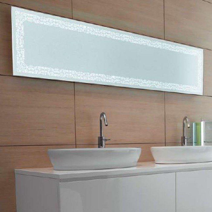 Зеркало для ванной комнаты прямоугольное 170 см на 40 см см GSI MSPEC18 (с декором и внутренней подсветкой)