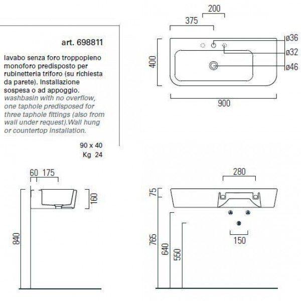 Раковина для ванной на 90 см GSI traccia L 698811