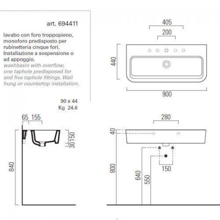 Раковина для ванной на 90 см GSI traccia L 694411