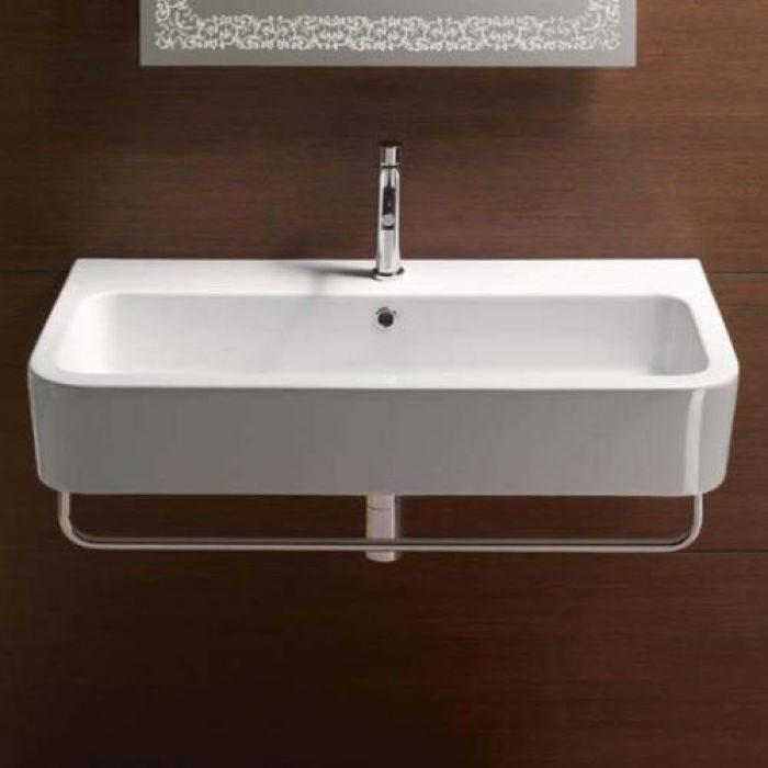 Раковина для ванной на 90 см GSI traccia L 694411 с хромированным полотенцедержателем MMB90C