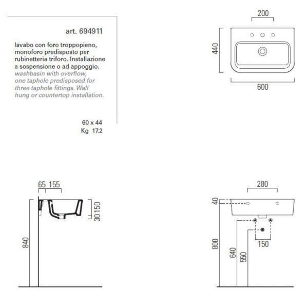 Раковина для ванной на 60 см GSI traccia L 694911 с хромированным полотенцедержателем MMB60C