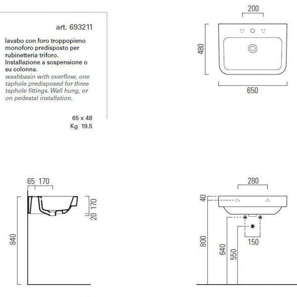 Раковина для ванной на 65 см GSI traccia M 693211
