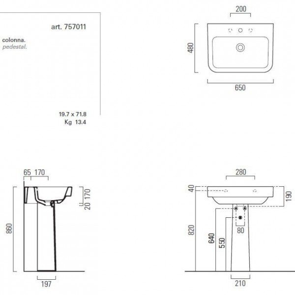 Раковина для ванной на 65 см GSI traccia M 693211 с хромированным полотенцедержателем PATF65/PATFB65