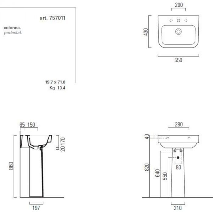 Раковина для ванной на 55 см GSI traccia M 693911