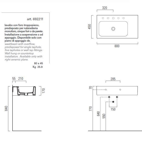 Раковина для ванной на 80 см GSI traccia C 692211с полотенцедержателем PATQ80