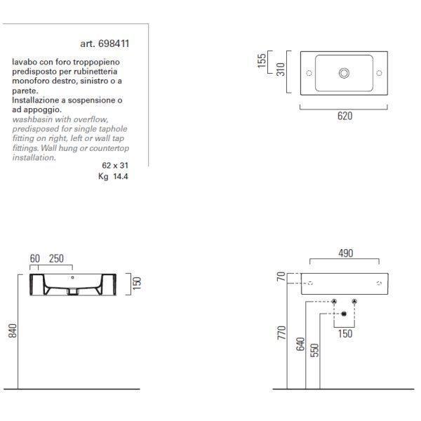 Раковина для ванной на 62 см GSI traccia C 698411 с полотенцедержателем PATQ62