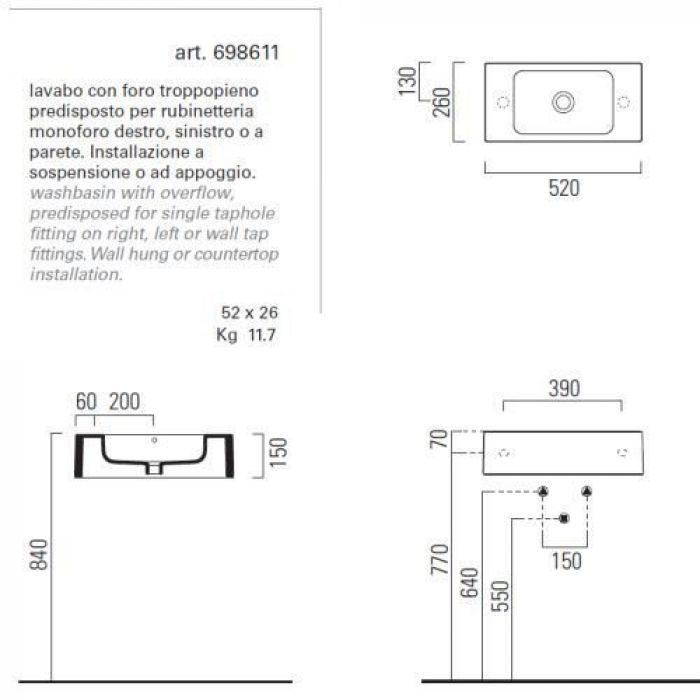 Раковина для ванной на 52 см GSI traccia C 698611