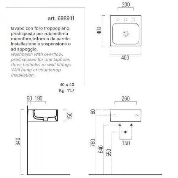 Раковина для ванной на 40 см GSI traccia C 698911