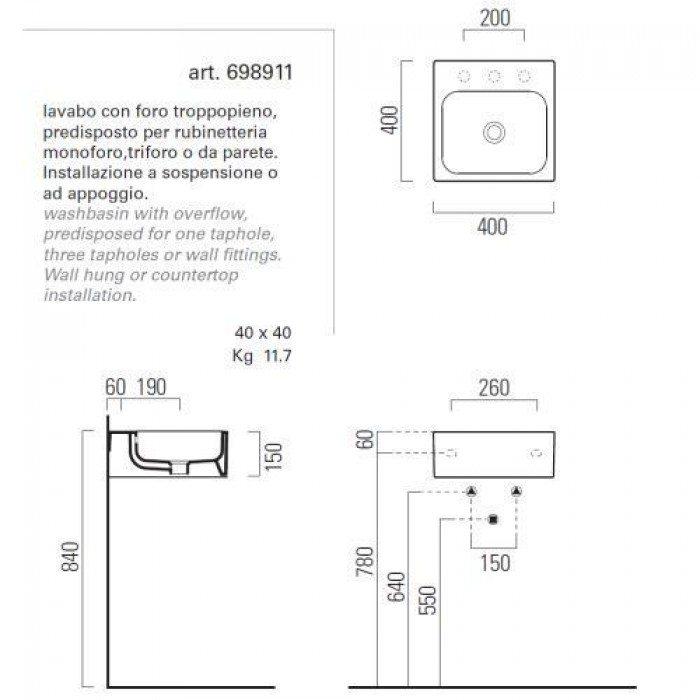 Раковина для ванной на 40 см GSI traccia C 698911 с полотенцедержателем PATQ40
