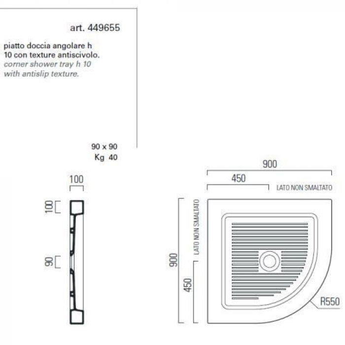Душевой поддон GSI traccia 449655 90 см на 90 см (угловой)