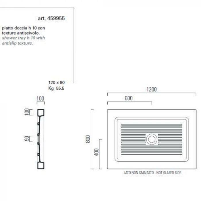 Душевой поддон GSI traccia 459955 120 см на 80 см