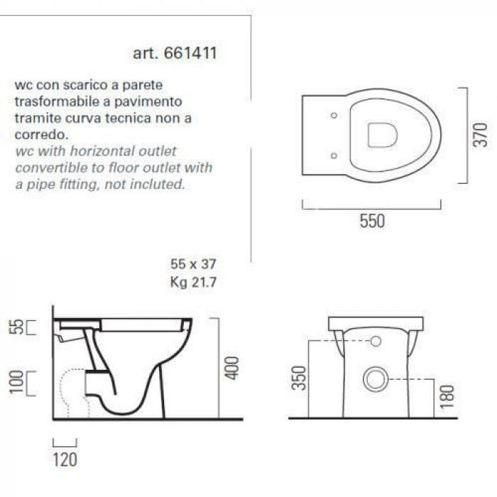 Унитаз напольный приставной GSI panorama BASIC+ 661411