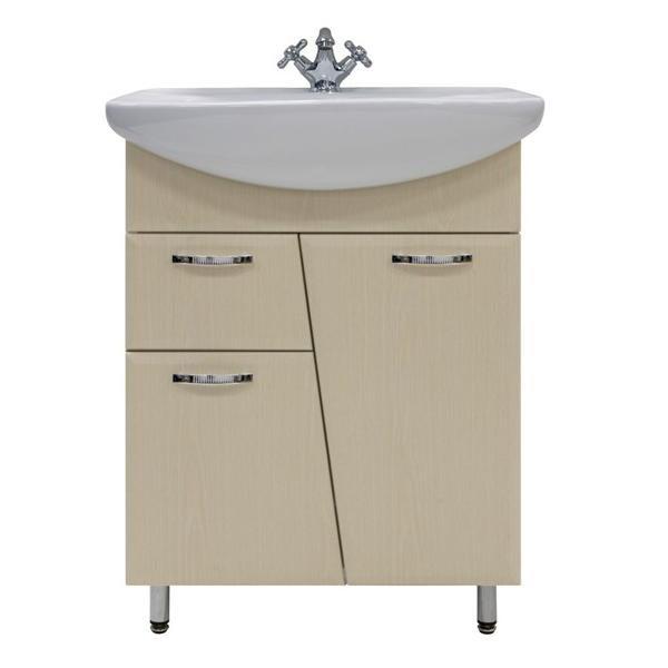 Тумба для ванной с раковиной Лагуна 1я - 65 (цвет дуб)