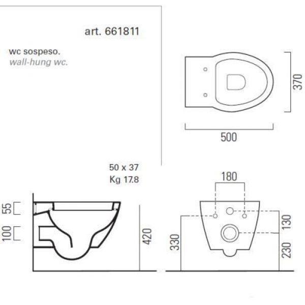Унитаз подвесной GSI panorama BASIC 661811 (компактный, укороченный)