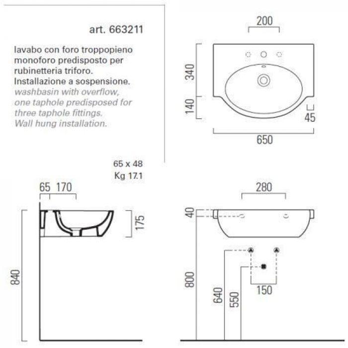 Раковина для ванной на 65 см GSI panorama line 663211