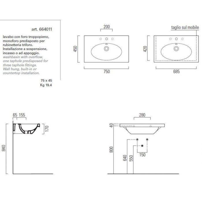 Раковина GSI panorama square75 664011 с полотенцедержателем PASQ75