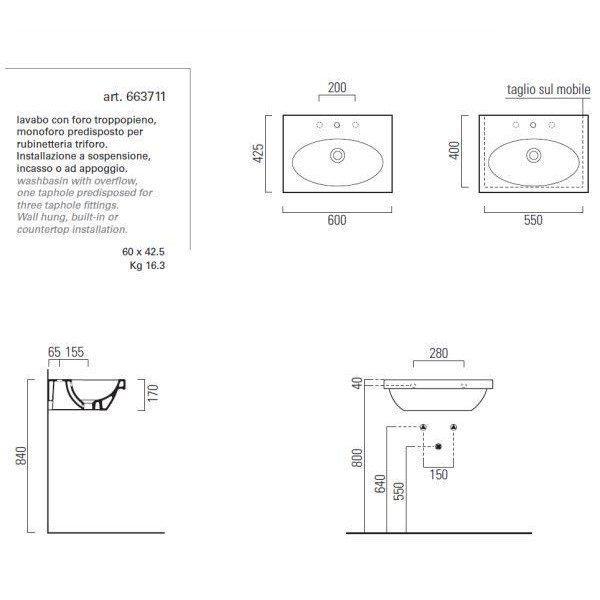 Раковина GSI panorama square60 663711 с полотенцедержателем PASQ60