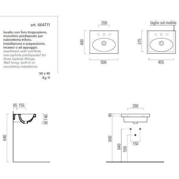 Раковина GSI panorama square50 664711 с полотенцедержателем PAFL51
