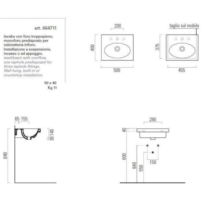 Раковина GSI panorama square50 664711 с полотенцедержателем PATF55