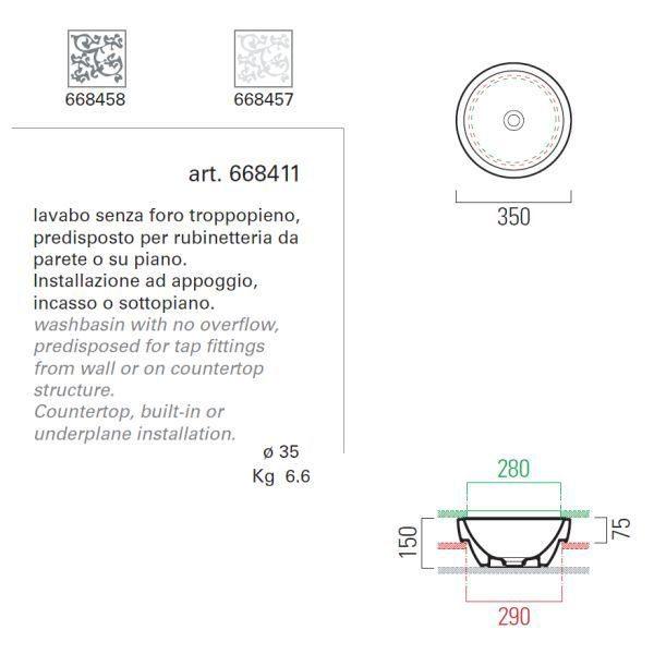 Накладная круглая раковина на 35 см GSI panorama 668411