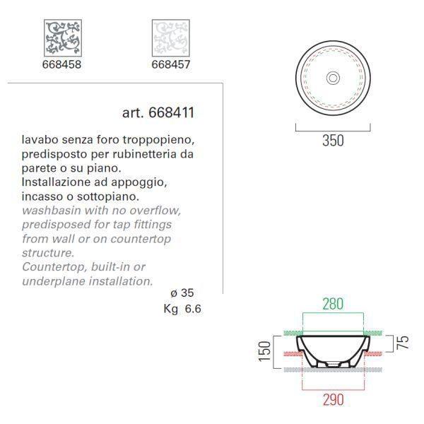 Накладная круглая раковина на 35 см GSI panorama 668458/668457