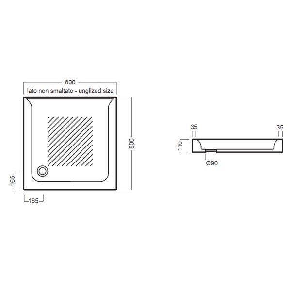 Керамический душевой поддон 80 см на 80 см Hatria DROP Y0Y6