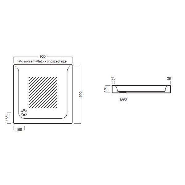 Керамический душевой поддон 90 см на 90 см Hatria DROP Y0NQ