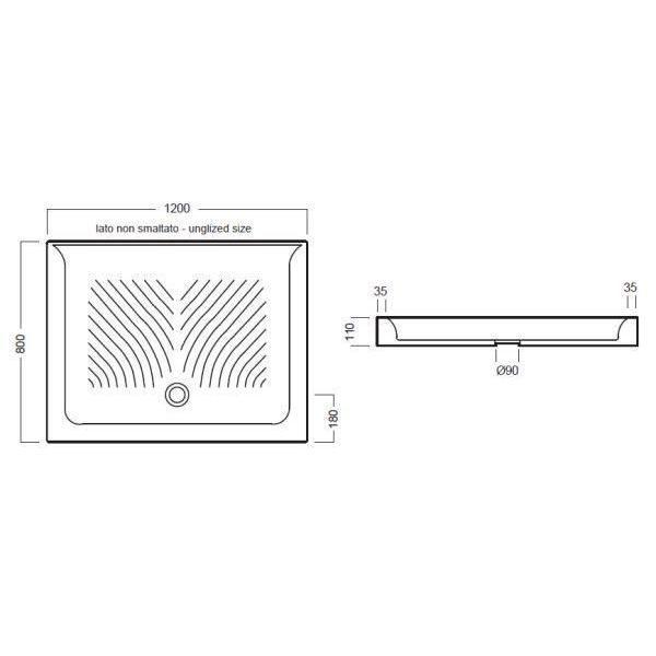 Керамический душевой поддон 120 см на 80 см Hatria DROP Y0KC