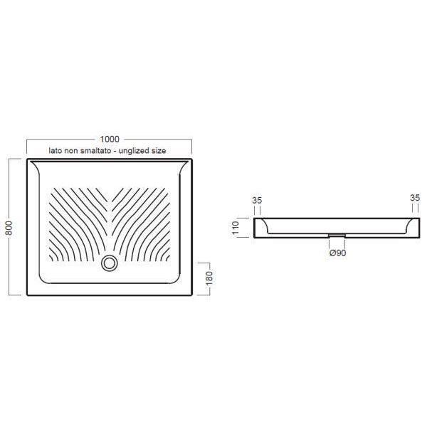 Керамический душевой поддон 100 см на 80 см Hatria DROP Y0KD