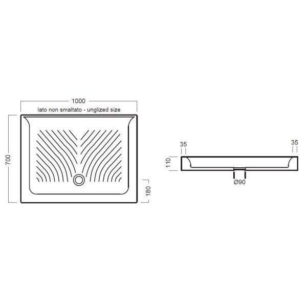 Керамический душевой поддон 100 см на 70 см Hatria DROP Y0QC