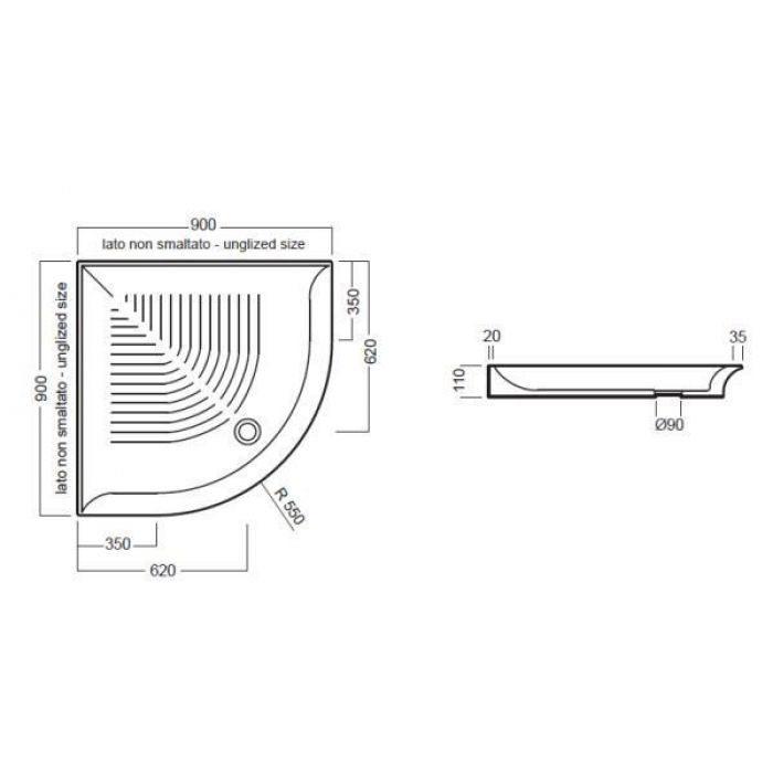 Керамический угловой душевой поддон 90 см на 90 см Hatria DROP Y0GF