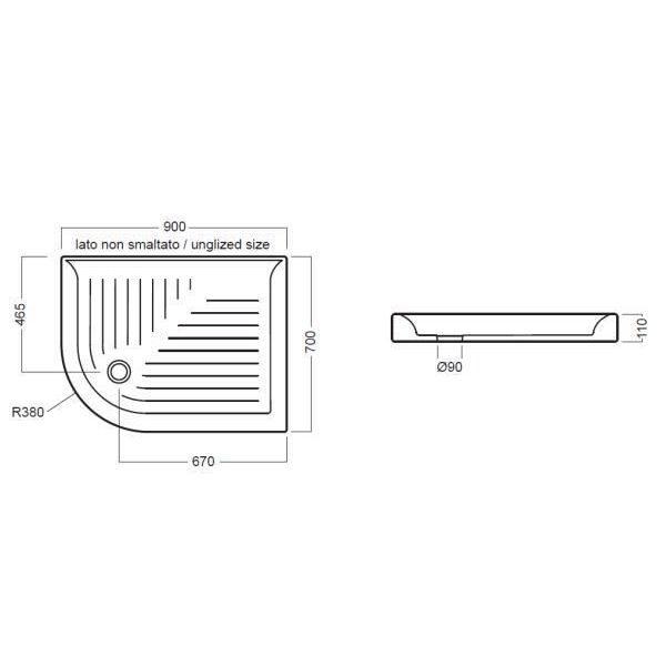 Керамический угловой душевой поддон 90 см на 70 см Hatria DROP SX YXBF