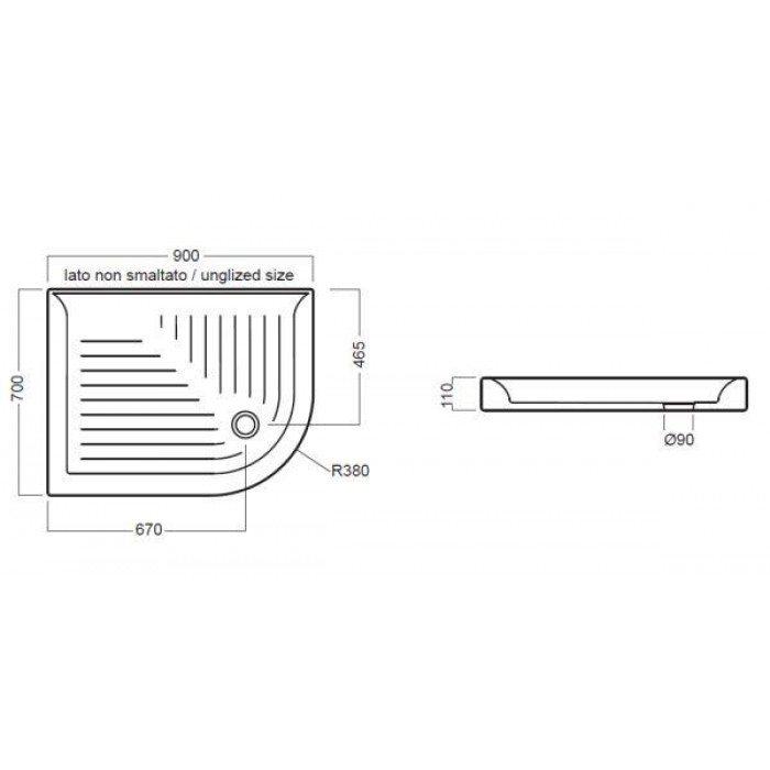 Керамический угловой душевой поддон 90 см на 70 см Hatria DROP DX YXBG