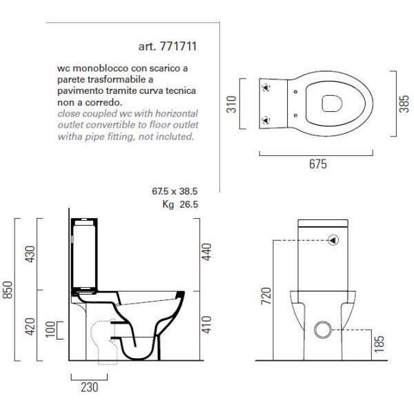 Унитаз моноблок GSI Modo 771711 с керамическим бачком 758111