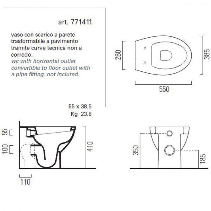 Унитаз напольный приставной GSI modo 771411 с сидением и крышкой QUADRO