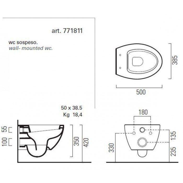 Подвесной унитаз GSI modo 771811 с сидением и крышкой TONDO