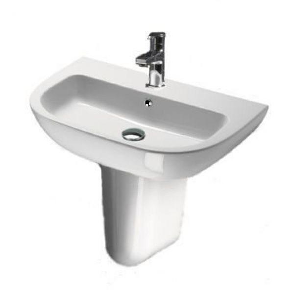 Раковина для ванной на 70 см GSI modo 773111 с керамической полуколонной 807111