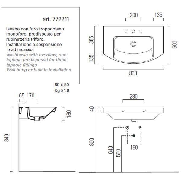 Раковина для ванной на 80 см GSI modo 772211 с полотенцедержателем PAMQ80