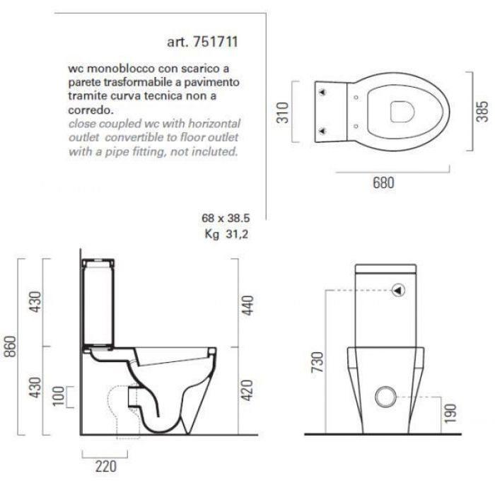 Унитаз моноблок GSI losanga 751711 с керамическим бачком 758111