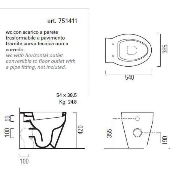 Унитаз напольный приставной GSI losanga 751411
