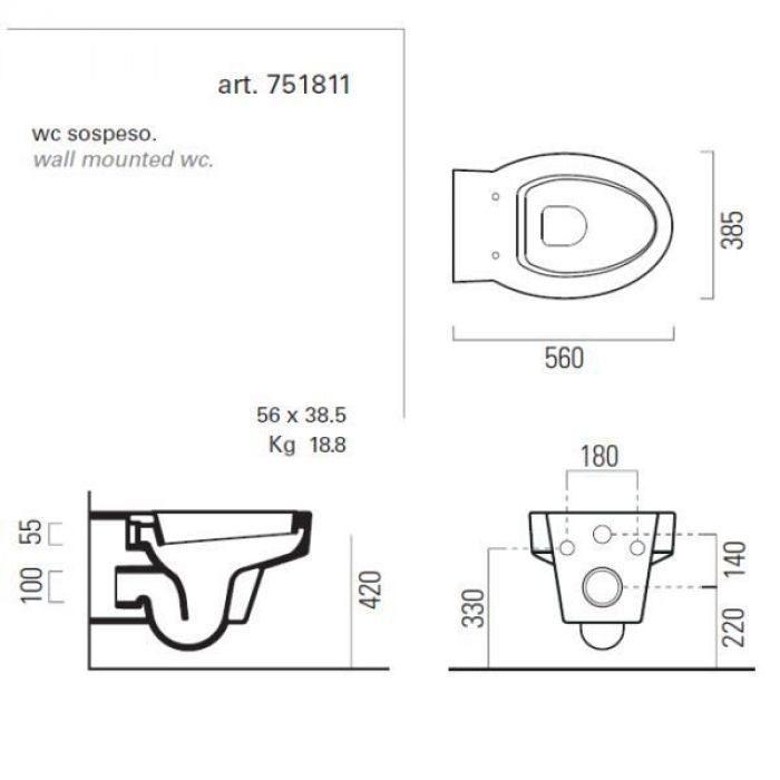 Унитаз подвесной GSI losanga SLIM 751811