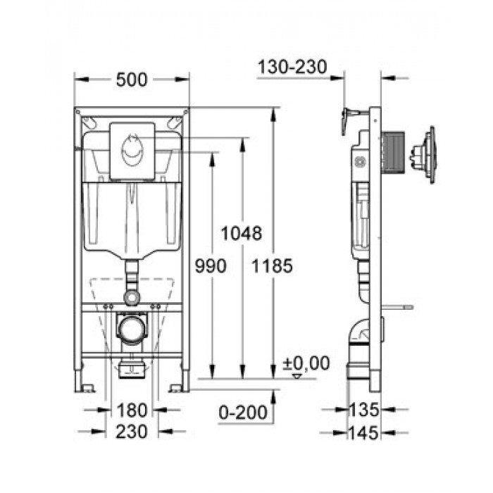 GROHE Rapid SL 38750 – Инсталляция для подвесных унитазов