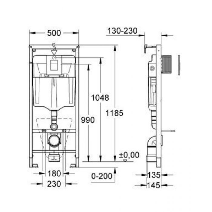 GROHE Rapid SL 38775 – Инсталляция для подвесных унитазов