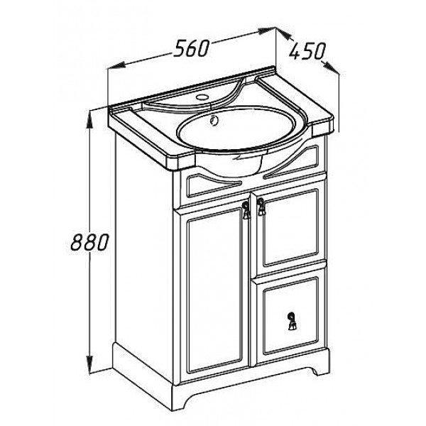 Комплект мебели OPADIRIS Клио 50 c пеналом (Белый или орех антикварный)