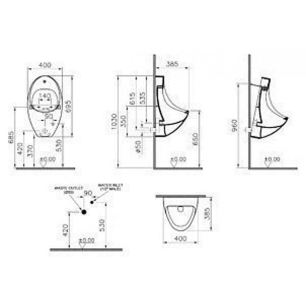 Писсуар VitrA Arkitekt 4106B003-5200 подвесной, с сенсорным управлением