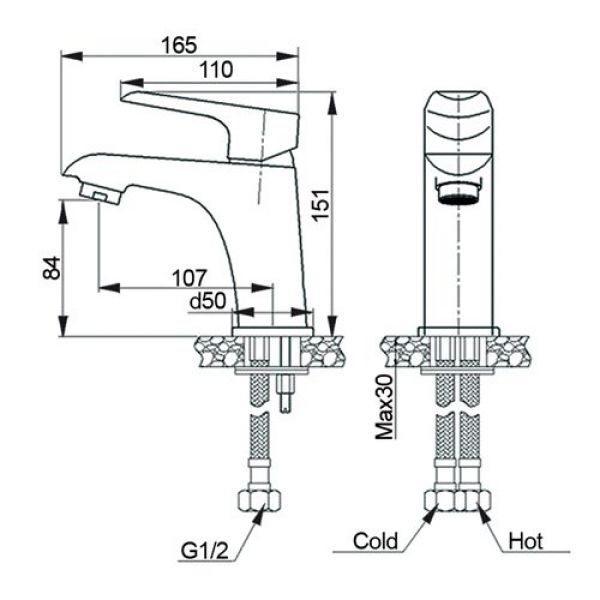 Комплект смесителей Raiber для ванны и для раковины однорычажный R3601
