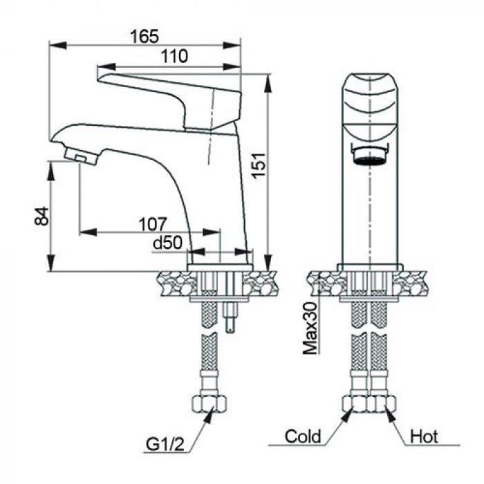Комплект смесителей Raiber для ванны и для раковины однорычажный R3602