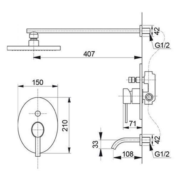 Душевая система скрытого монтажа Raiber R9502