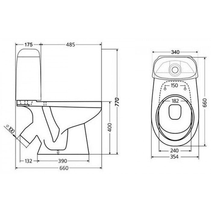 Унитаз моноблок SANTEK Бореаль-люкс с керамическим бачком
